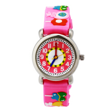Keymao Candy Waterproof 3D Cute Cartoon Silicone Wristwatches Gift for Little Girls Boy Kids Children Pink