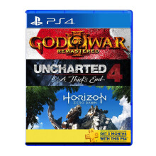 SONY PS4 Game Hits Bundle 2 (Horizon + Uncharted 4 + God of War + PS Plus) - Reg All