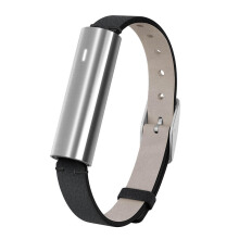 MISFIT Ray Polished Stainless Steel Wearables Black Leather Band Unisex [MIS1003]