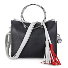 Guapabien Women Crossbody Patchwork Ring Tassel Tote Bag