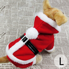 Pet Christmas Clothes with Hat Santas Puppy Costume in L Size