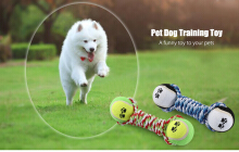 Knot Rope Dog Chew Training Pet Toy with Tennis Ball Random Color