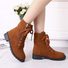 BESSKY Ankle Boot Suede Soft Leather Women Boots Zip Short Plush Boots Shoes_