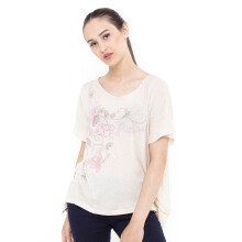 Mobile Power Ladies Flower Batwing T-shirt - Q6721 Cream