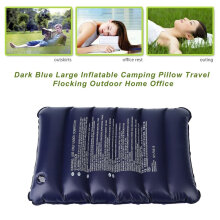 [Kingstore]Dark Blue Large Inflatable Camping Pillow Travel Flocking Outdoor Home Office