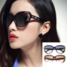Gold Rose Flower Carving Women Fashion Cat Eye Vintage Sunglasses Glasses