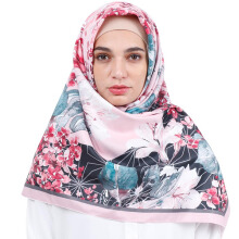 KAMILAA by ITANG YUNASZ Square Hijab - Red Blue Flower