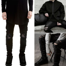 Ripped jeans for men skinny Distressed slim famous brand designer biker hip hop swag tyga white black jeans kanye west