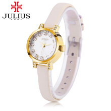 Julius JA - 884 Women Quartz Watch Slender Genuine Leather Band Artificial Diamond Dial 3ATM Wristwatch