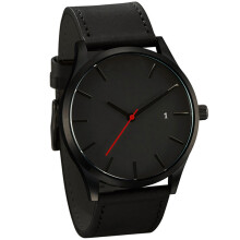 BESSKY  Popular Low-key Minimalist Connotation Leather Men's Quartz Wristwatch -black