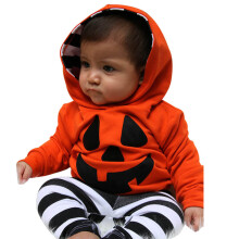 BESSKY Infant Baby Boy Girls Pumpkin Hooded Blouse +Stripe Pants Halloween Outfits Set_