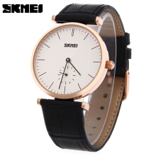 SKMEI 1175 Unisex Quartz Watch Genuine Leather Strap 30m Water Resistance Wristwatch