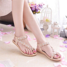 BESSKY Women Summer Bohemia Flower Beads Flip-flop Shoes Flat Sandals -