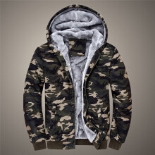 BESSKY Mens Camouflage Hoodie Winter Warm Fleece Zipper Sweater Jacket Outwear Coat_