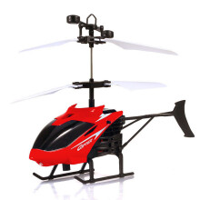 BESSKY Flying Mini RC Infraed Induction Helicopter Aircraft Flashing Light Toys - Red