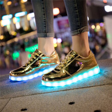 BESSKY LED Light Lace Up Luminous USB Charge Sport Sneaker Unisex Casual Shoes _