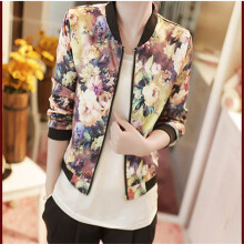 BESSKY 1PC Women Stand Collar Long Sleeve Zipper Floral Printed Bomber Jacket-