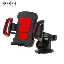 JEREFISH Car Phone Mount Washable Strong Sticky Gel Pad with One-Touch Design Dashboard Car Holder for iPhone 8/8Plus/7/7Plus Red