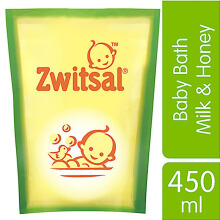 ZWITSAL Natural Baby Bath Milk & Honey Pouch 450ml