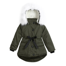 BESSKY Baby Girls Fur Hooded Tops Jacket Padded Coat Kids Long Thick Warm Jacket Parkas_