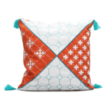 VIVERE Cushion Cover Morrocan Cross - Orange & Blue / 45X45cm