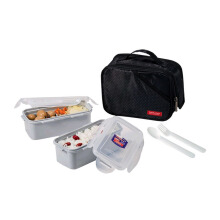 LOCK & LOCK Lunch Box 2P Set Bag & Spoon, Fork Set Black (HPL752DB)