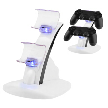 LED Micro USB Dual Dock Charging Charger Stand White For PS 4 Slim Controller