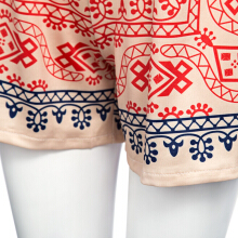 Vintage Mid Elastic Waist Print Patchwork Straight Shorts for Women
