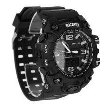 1155 Skmei Waterproof Dual Time Digital Sports Watch Shock Resistant PU Strap