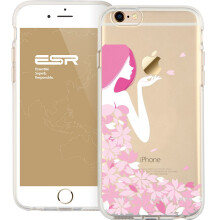 ESR Clear Soft Gel TPU Cover Shell Skin with Cute Cartoon Pattern for Apple 4.7 iPhone 6/6s(Petals goddess)