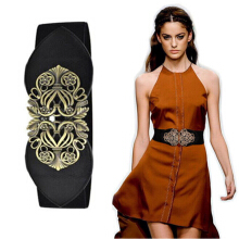 Women Retro Vintage Deisgn Flower Elastic Stretch Buckle Wide Waistband Belt