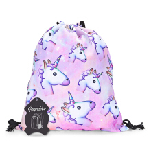 Guapabien Girls 3D Unicorn Print Backpack Drawstring Bag