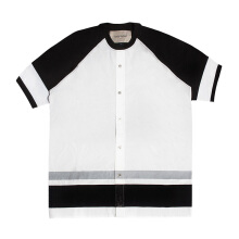 CASELY-HAYFORD Jersey T-Shirt/Woven Baseball Top Hybrid - White