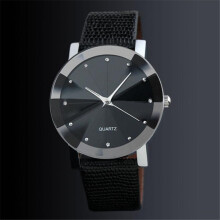 BESSKY Luxury Quartz Sport Military Stainless Steel Dial Leather Band Wrist Watch Men- Black
