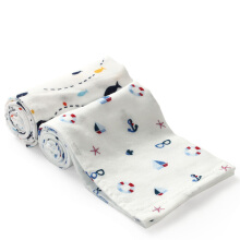 PurCotton Baby Gauze Face Towel 25x50cm,2piece/bag Boat+Shark