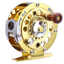 BF600 Portable Aluminum Cut Fly Fishing Vessel Reels Gold Disk Drag with Retail Box