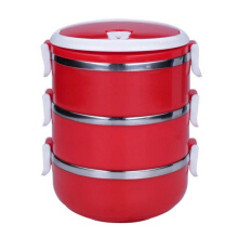 STARHOME Rantang 3 Susun - Kotak Makan Stainless Steel - Lunch Box 2100 ml Glossy Merah - HL-KW-CONT-RT3-V2-R