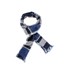 PurCotton Spring and Summer Woman Single-layer yarn-dyed gauze scarves Blue Grid 1piece/bag