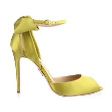 PAUL ANDREW Fatales Satin Bow Sandals - Green