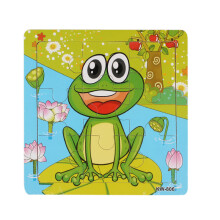 BESSKY Frog Wooden Kids Children Jigsaw Education And Learning Puzzles Toys - Green