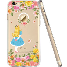 ESR Clear Soft Gel TPU Cover Shell Skin with Cute Cartoon Pattern for Apple 4.7 iPhone 6/6s(Young Alice)