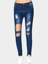 Cut Out Destroyed Jeans