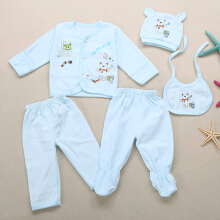 Cute Cartoon Print Candy Color 5 Piece Set for Babies 0 - 3 MONTH