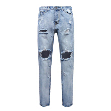Zip Cuff Knee Hole Narrow Feet Ripped Jeans