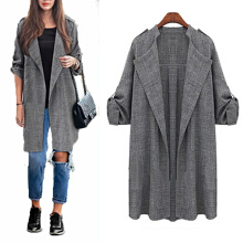 ZANZEA Women's Casual Long Coat - Grey