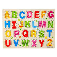 BESSKY a set 26pcs Wood Alphabet English Letters Puzzle Jigsaw Educational Toy-Multicolor