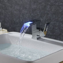 LANGFAN J4411 LED Color Waterfall Bathroom Sink Faucet