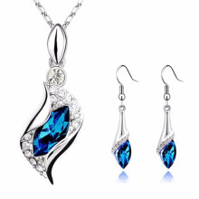BESSKY Sapphire Blue Long Teardrop Austria Crystal Fashion Earrings Pendant Necklace- Blue