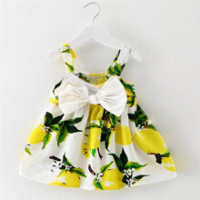 BESSKY Baby Girl Clothes Lemon Printed Infant Outfit Sleeveless Princess Gallus Dress _