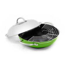 "ECOPAN Fusion Induction DuraWok With Stainless Steel Cover Ceranon Ceramic - 13"" / 34 Cm  Shiny Green"